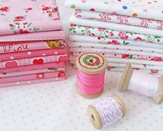 ribbons and twine and fabric OH MY!!!  Pam Kitty Love pink and whit colourways on the Pretty by Hand blog