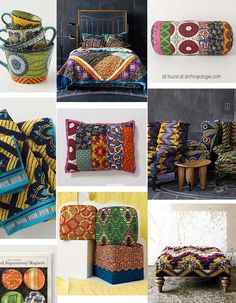 Patterned seating covers and mugs, or blankets for the lawn with throw pillows…