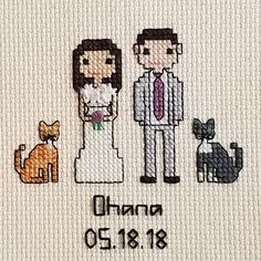 Personalized Wedding Portrait - Custom Cross Stitch People for Wife, Husband, Spouse - unique gift - 2nd Anniversary, Cotton Anniversary