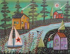 Along The Shore 11x14 ORIGINAL CANVAS PAINTING seascape FOLK ART Karla Gerard #FolkArtAbstractPrimitive
