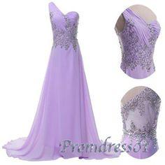 2015 purple elegant one-shoulder beaded chiffon long prom dress for tens, ball gown, evening dress #promdress #coniefox #2016prom