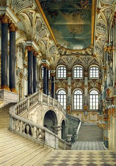 This image depicts the Jordan staircase, inside the Winter Palace (now the Hermitage Museum), located along the Neva River in St Petersburg, Russia. Russian Architecture, Beautiful Architecture, Beautiful Buildings, Art And Architecture, Beautiful Places, Watercolor Architecture, Sustainable Architecture, Grande Cage D'escalier, Hermitage Museum