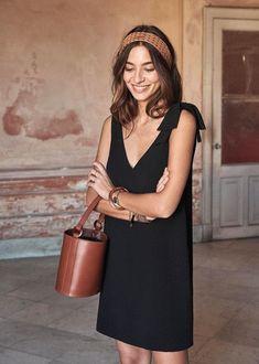6e1d64e24f3 a summer black dress and brown accessories Pauline Dress