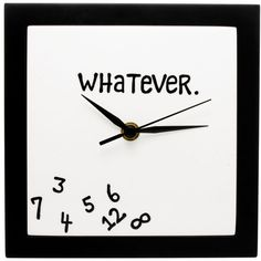 Whatever Clock (31 CAD) ❤ liked on Polyvore featuring home, home decor, clocks, outside wall clock, wall mount clock, word clock, home wall decor and outdoor wall clock