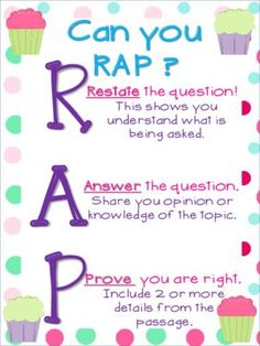Can you rap? Restate Answer Prove Great for a visual reminder to help students answer comprehension questions. Check out all my corresponding Themes in my store! Cupcakes and Polka Dots -- -- -- -- -- -- -- -- -- -- -- -- -- -- -- -- -- -- -- 3rd Grade Writing, 6th Grade Ela, 4th Grade Reading, Third Grade, Fourth Grade, Grade 3, Guided Reading, Writing Lessons, Teaching Writing
