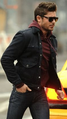 Zac Efron wearing Burgundy Hoodie, Black Denim Jacket, and Charcoal Jeans - Men's style, accessories, mens fashion trends 2020 Mode Masculine, Sharp Dressed Man, Well Dressed, Stylish Men, Men Casual, Casual Winter, Stylish Girl, Casual Wear, Mode Man