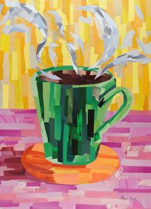 Green Coffee Cup by Megan Coyle. The artist has used coloured strips of card to create the collage. In the centre foreground of the piece you can see the green coffee cup with steam rising from it, sat on a coaster. The combination of the steam, coaster, and shadow of the cup on the left side makes the picture more 3D. The bright pink, yellow, and orange colours make the picture very warm although the main focus of the picture has been created with cold colours.