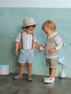 Ensemble bébé garçon chemise + gilet sans manche + bermuda - Gris pâle - 1