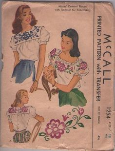MOMSPatterns Vintage Sewing Patterns - McCall's 1254 Vintage 40's Sewing Pattern GORGEOUS Swing Era Back Buttoned Blouse, Mexican Gypsy Peasant Top, Floral Embroidery, Square Collar or Drawstring Size 18