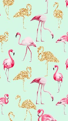 Flamingos. | We Heart It | flamingos, gold, and wallpaper
