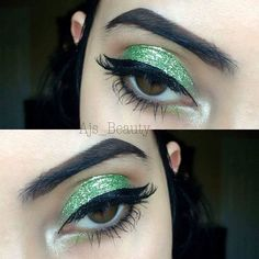 """My Beauty Addiction cosmetics (buy on etsy) -   ☘️Eyeshadow in Jealous, Georgia clay and trust Fund Highlighter  ☘️Glitter in Kiwi  ☘️Lashes in the style Angelic use code """"GLAM15"""" for your discount"""