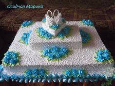 Dort krémový * svatební - zdobený modrými růžemi.