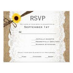 Rustic Burlap, Sunflower, & Lace Wedding RSVP Card