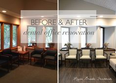 Before & After:: Dental Office Renovation – Megan Brooke Handmade – Office Design 2020 Waiting Room Decor, Waiting Room Design, Office Waiting Rooms, Dental Office Design, Office Interior Design, Office Interiors, Dental Offices, Design Offices, Modern Offices