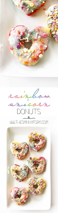 Somewhere over the rainbow are these new New NEW Skinny Rainbow Unicorn Donuts! These have to be the prettiest donuts ever. Made using all natural food coloring and naturally colored sprinkles. TheSkinnyFork.com | Skinny & Healthy Recipes