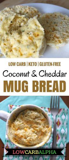 Low Carb Keto Gluten-Free Coconut Flour and Cheddar Cheese Mug Bread Recipe #lowcarb #keto #lchf #lowcarbalpha
