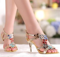 2017 Summer Leather Rhinestone Women Sandals High Heels Shoes Open Toe Ladies Gold Sandals sandalias femininas salto alto