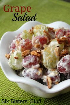 Six Sisters Grape Salad is one of our favorite side dishes and can be made in less than 10 minutes!