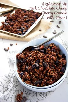 Dark chocolate cherry granola with pecans