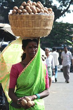 Carrying on the head : Carrying on the head is a common practice in many parts of the world, as an alternative to carrying a burden on the back, shoulders, and so on. People have carried burdens balanced on top of the head since ancient times, usually to do daily work, but sometimes in religious ceremonies or as a feat of skill, such as in certain dances.