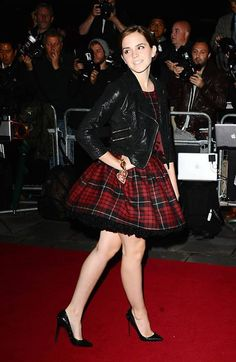 Emma Watson. leather jacket + poofy dress +heels