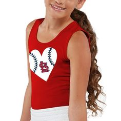 MLB St. Louis Cardinals Girls Youth Heart Tank Top