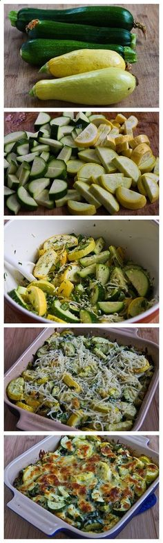 Low-carb alternative to pasta bake: Recipe for Easy Cheesy Zucchini Bake by kathy (paleo side dishes low carb) Side Dish Recipes, Vegetable Recipes, Yummy Recipes, Vegetarian Recipes, Cooking Recipes, Healthy Recipes, Recipies, Easy Low Carb Recipes, Gout Recipes