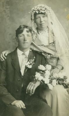 Antique real photo postcard of bride and groom - wedding portrait circa 1910 So Serious! Lol