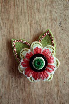 Olive Felt Flower Pin