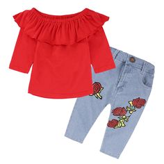e952976f2fe9 Girls Clothes Sets Red Shirt And Rose Denim Pants Girls Boutique Fall  Outfits Children Fashion Suits Toddler Clothing Kids Set