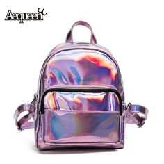 1cc80c6670 AEQUEEN Women Backpack Hologram Laser Backpacks Female Simple Bags Leather  Holographic Hgh Quality Mini Backpacks Bags