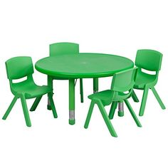 172632d17b08e Flash Furniture 33 Round Adjustable Green Plastic Activity Table Set 4  School Stack Chairs For Sale