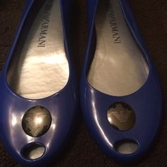 SALE! Emporio Armani blue jelly flats SALE! Armani Gorgeous and comfy for every day. Bought these in Paris and only tried them on in the store! armani Shoes Flats & Loafers