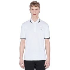 Fred Perry Laurel Collection Twin Tipped Polo Shirt- WHITE / BLACK (Made In England!)