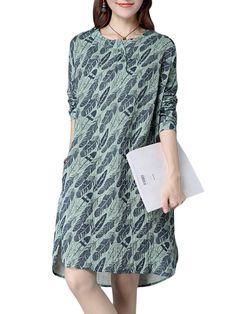 Vintage Leaf Printed Long Sleeve Loose Women Dress - Gchoic.com #women #fashion #dresses #cheap #popular