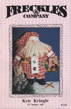 Stuffed Kris Kringle pattern Freckles & Co 13 in soft sculpture doll Santa Claus #FrecklesCompany