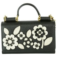 Pre-owned Dolce&gabbana Family Applique Phone Case Chain Black/white... ($1,000) ❤ liked on Polyvore featuring bags, handbags, shoulder bags, crossbody purse, handbags shoulder bags, leather handbags, shoulder handbags and leather purse