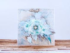 scrapbooking card with foamiran flowers