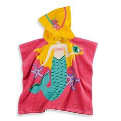 Kids Printed Mermaid Hooded Beach Towel in Multi/Pink