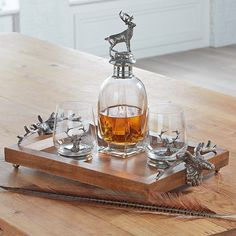 At Home in the Country - Tall Stag Decanter, Tumblers & Tray Set