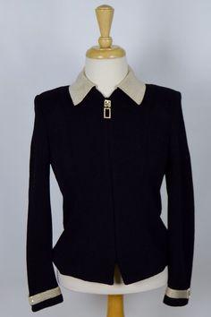 St John Evening Women's Size 0 Black Gold Beaded Sequin Knitted Jacket #StJohn #BasicJacket #Formal
