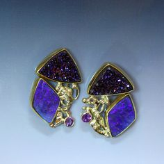 Boulder Opal Jewelry-Boulder opal and  magenta drusy earrings