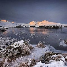 Rannoch Moor on an eerily, quiet early morning in Scotland.
