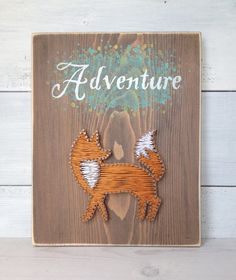 Fox String Art Sign, Adventure, Wooden Sign