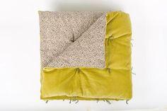 En-fil-dindienne - Plaid velours jete lit Tosca - Jaune-Gold - 160x160 cm