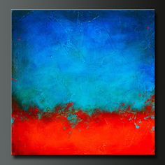 ON HOLD FOR IVETTE Eruption 24 x 24 Abstract acrylic painting Deep 1 1/2 canvas, sides are painted black, staple free, ready to hang. Signed and dated on the back. This 24 x 24 acrylic abstract painting is highly textured, then covered in vivid shades of cobalt blue, aqua, turquoise, crimson red, and orange. Finished in gloss varnish to protect the piece from dust and UV light for years to come. This is a great piece with incredible texture and bold rich colors in a gre...