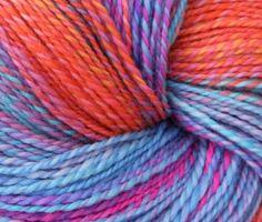 "VickeVira on Etsy. ""Calypso"" hand-spun merino 2-ply yarn, hand-painted by Alchemyfibrearts."