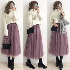 Fashion Tips School .Fashion Tips School Long Skirt Fashion, Modest Fashion Hijab, Long Skirt Outfits, Kpop Fashion Outfits, Winter Fashion Outfits, Muslim Fashion, Modest Outfits, Fashion Dresses, Korean Girl Fashion