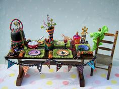 Reserved, Please Don't Buy-payment 4 On Dollhouse Miniature Witch Birthday Party…