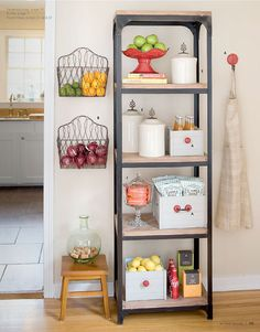 kitchen organization that is great in a small apartment with little cabinet storage. Helps to keep the room storage foods in one designated area eliminating time of running back and forth when cooking. I love the idea of hanging my produce on the wall. Kitchen Organization, Kitchen Storage, Food Storage, Kitchen Shelves, Fruit Storage, Vegetable Storage, Cabinet Storage, Pantry Storage, Storage Ideas